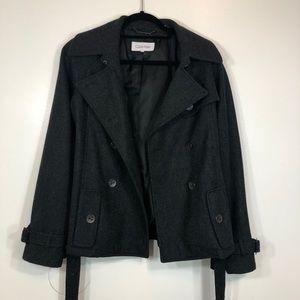 Calvin Klein Gray Wool Pea Coat NWOT